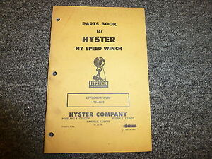Hyster Pn Hy Speed Winch On Cat D6 D7 D8 Dw10 Tractor Part Catalog Owner Manual