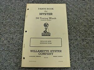 Hyster Tr Towing Winch For Cat D6 R5 Forty Tractors Parts Catalog Owner Manual