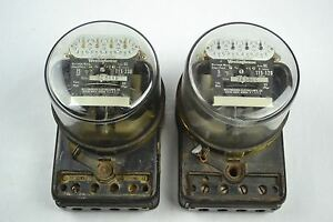 2 Vintage Antique Watthour Meters Westinghouse Oc 5 Amp 15 Amp