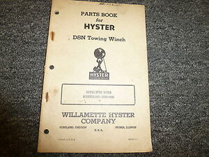 Hyster Hrn D8n Towing Winch For Cat D8 Tractor Parts Catalog Owner Manual