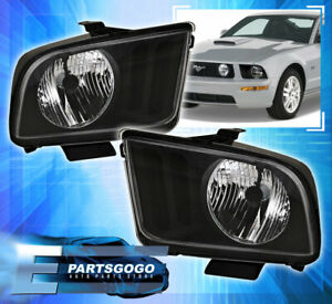 2005 2006 2007 2008 Ford Mustang Gt Crystal Style Black Headlight Lamps Pair