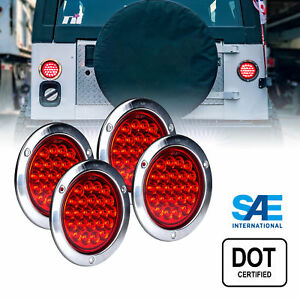 4pc Ols 4 Round 24 Led Tail Light With Stainless Steel Bezel Red