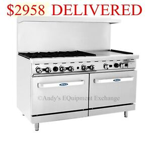 New 60 6 Burner Range 24 Griddle With 2 Ovens Nsf Stainless Gas Ato 6b24g