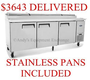 Atosa Pizza Sandwich Prep Table 93 Inch 3 Door Cooler With Cutting Board 7 Ft