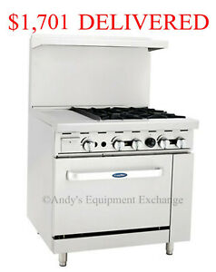 36 Inch 3 Foot Gas Range 4 Burners With 12 Griddle On The Left And 1 Oven