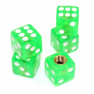 Set Of 5 Clear Green Dice Tire Wheel Air Stem Valve Caps For Car Truck Hot Rod