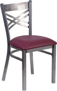 Lot Of 20 Clear Coated x Back Metal Restaurant Chair Burgundy Vinyl Seat