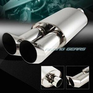Universal 3 Dual Dtm Style Tip 2 5 Inlet T 304 Stainless Steel Exhaust Muffler