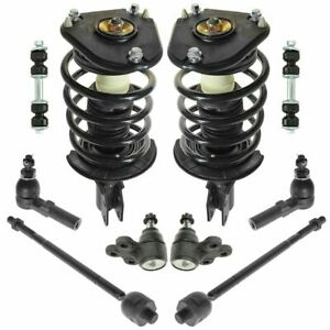 10 Piece Steering Suspension Kit Loaded Struts Tie Rods Ball Joints End Links
