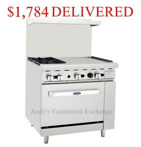 36 Inch Wide 3 Foot 2 Burner Range Top With Oven And 24 Right Side Griddle