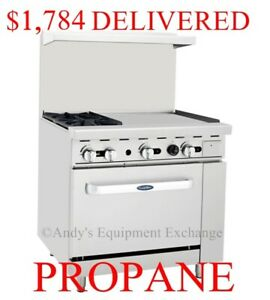 36 Inch 3 Foot 2 Burner Range With Oven 24 Right Side Griddle Propane Gas
