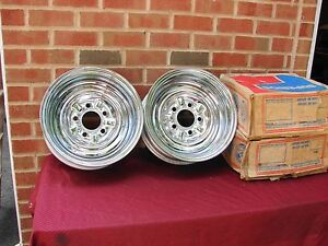Vintage Nos Superior Chrome Reverse Wheels 14 X 6 With 5 Bolt 5 Inch Bc 5x5