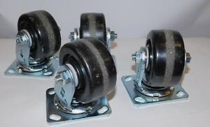 Lot 4x Scc Heavy Duty 100 X 50 Mm Swivel Casters With Grease Port
