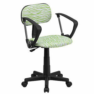 Flash Green And White Zebra Print Computer Chair With Arms bt z gn a gg