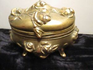 Art Nouveau Gold Tone Metal Jewelry Casket By E L Brainard Des Pat 36833