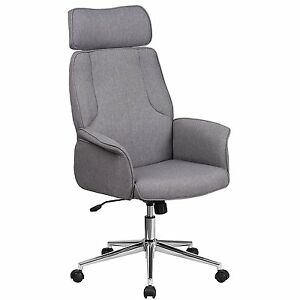High Back Gray Fabric Executive Swivel Home Office Chair With Chrome Base