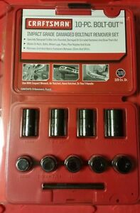 Craftsman 3 8 Drive 10 Pc Impact Bolt Out Damaged Bolt Nut Remover Extractor