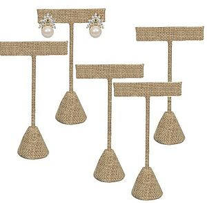 Lot Of 12 Modern Burlap Earring Display Stand Earring Tree 5 3 4 h Earring Stand