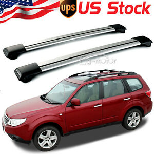 Universal Aluminum Roof Rack Top Raised Rails Cross Bars Luggage Cargo Carrier