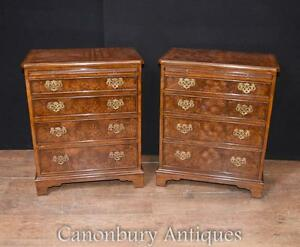 Pair Victorian Walnut Batchelors Chests Chest Drawers Nightstands