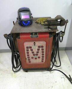 Mid states 300 Vintage Antique Welder Welding Table Vise Helmet Nice Set