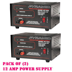 Pack Of 2 Pyramid Ps14kx 12 amp Regulated Power Supply 115v ac 60hz 270w