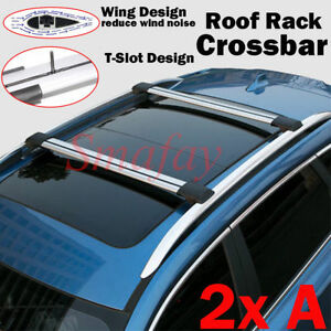 Universal Aluminum Roof Rack Top Raised Rails Cross Bars Luggage Kayak Carrier