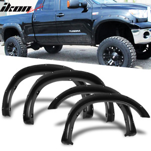 Fits 07 13 Toyota Tundra Pocket Fender Flares Gloss Black Abs