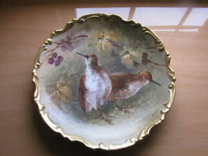 Antique Limoges Ldbc Wall Plate Charger Birds Hand Painted Signed Dubois