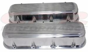 Finned Holeless Aluminum Tall Valve Covers For 65 95 Chevy Bb 396 427 454 502