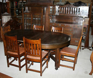 Antique Limbert Dining Room Set Sideboard China Dining Table 6 Chairs