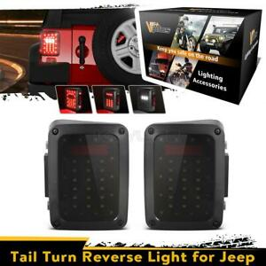 Smoked Turn Signal Tail Lights Brake Rear Back Up Led Lamps For Jeep Wrangler Jk