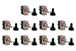 10 Pc Temco 20a 125v On off on Dpdt 6 Terminal Toggle Switch W Waterproof Boot