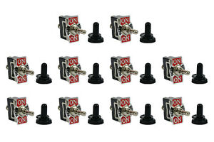 10 Pc Temco 20a 125v On off on Spdt 3 Terminal Toggle Switch W Waterproof Boot