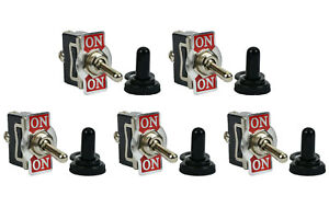 5 Pc Temco 20a 125v On on Spdt 3 Terminal Toggle Switch W Waterproof Boot Cap