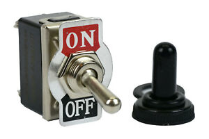 Temco 20a 125v On off Dpst 4 Terminal Toggle Switch W Waterproof Boot Cap