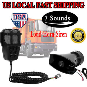 12v Loud Air Horn Siren For Car Boat Van Truck 7 Sounds Pa System Mic 120db Us