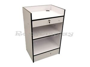 White Cash Register Stand Display Store Fixture Knocked Down scr cw