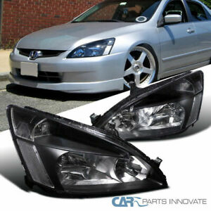 Fit 03 07 Honda Accord Headlights Driving Head Lamps Pair Jdm Black Replacement