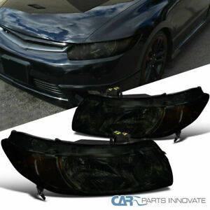 For 06 11 Honda Civic 2dr Coupe Smoke Lens Headlights Amber Signal Corner Lamps