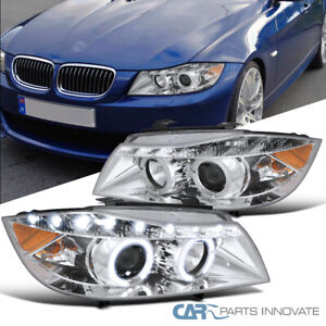 06 08 Bmw E90 3 Series 325i 330i 4dr Clear Dual Halo Projector Led Headlights
