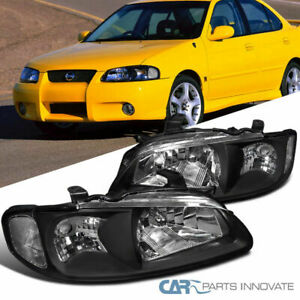 For 2000 2003 Nissan Sentra 4dr Se Xe Black Clear Headlights Driving Lamps Pair