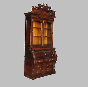 Antique Victorian Walnut Cylinder Secretary Desk Bookcase