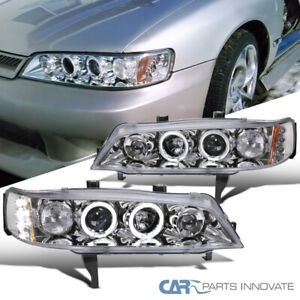 For 94 97 Honda Accord 2 4dr Clear Led Halo Projector Headlights Head Lamps Pair