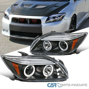 05 10 Scion Tc Jdm Black Led Halo Projector Headlights Head Lamps Left Right