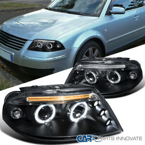 For 01 05 Vw Passat B5 Black Led Halo Projector Headlights Headlamps Left right