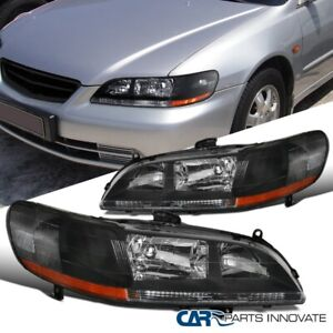 For 98 02 Honda Accord Dx Ex Lx Matte Black Headlights Driving Lamps Left right