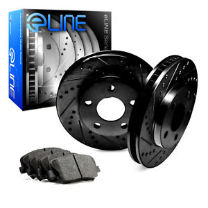 2012 2016 Ford Focus Rear Black Drilled Slotted Brake Disc Rotors