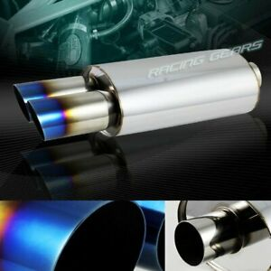 3 Dual Slant Titanium Burnt Tip T 304 Stainless 2 5 Inlet Exhaust Muffler