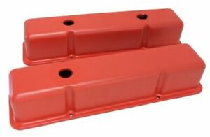 For 58 86 Chevy Small Block 283 305 327 350 400 Orange Tall Smooth Valve Covers
